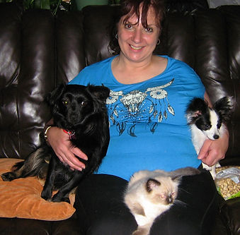 MaryAnne with Shena, Jasmine and traditional Seal Point Mitted Precious