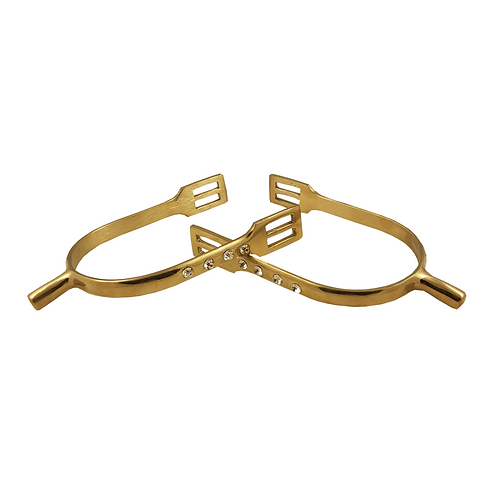 Free Rein Gold Curve Shank with Crystals Spurs