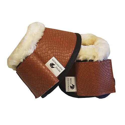 Benz Equestrian Tan Croc Over Reaches with Faux Fur Top