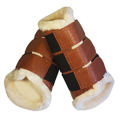 Benz Equestrian Tan Croc Fleece Lined Brushing Boots