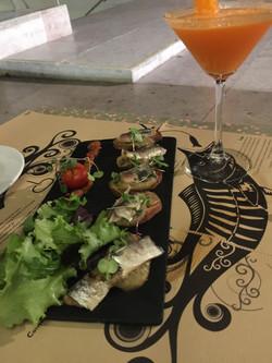 Sardine Filets with Eggplant Puree