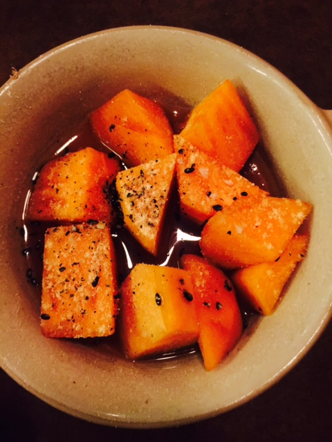 Persimmons with toasted sesame