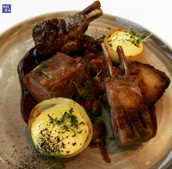 Lamb chops with rosemary sauch