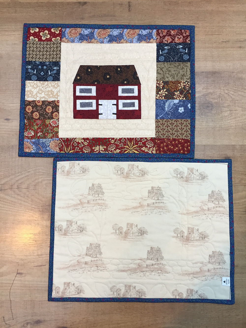 From original photo of the family home, to finished front and back of placemats - set of eight.