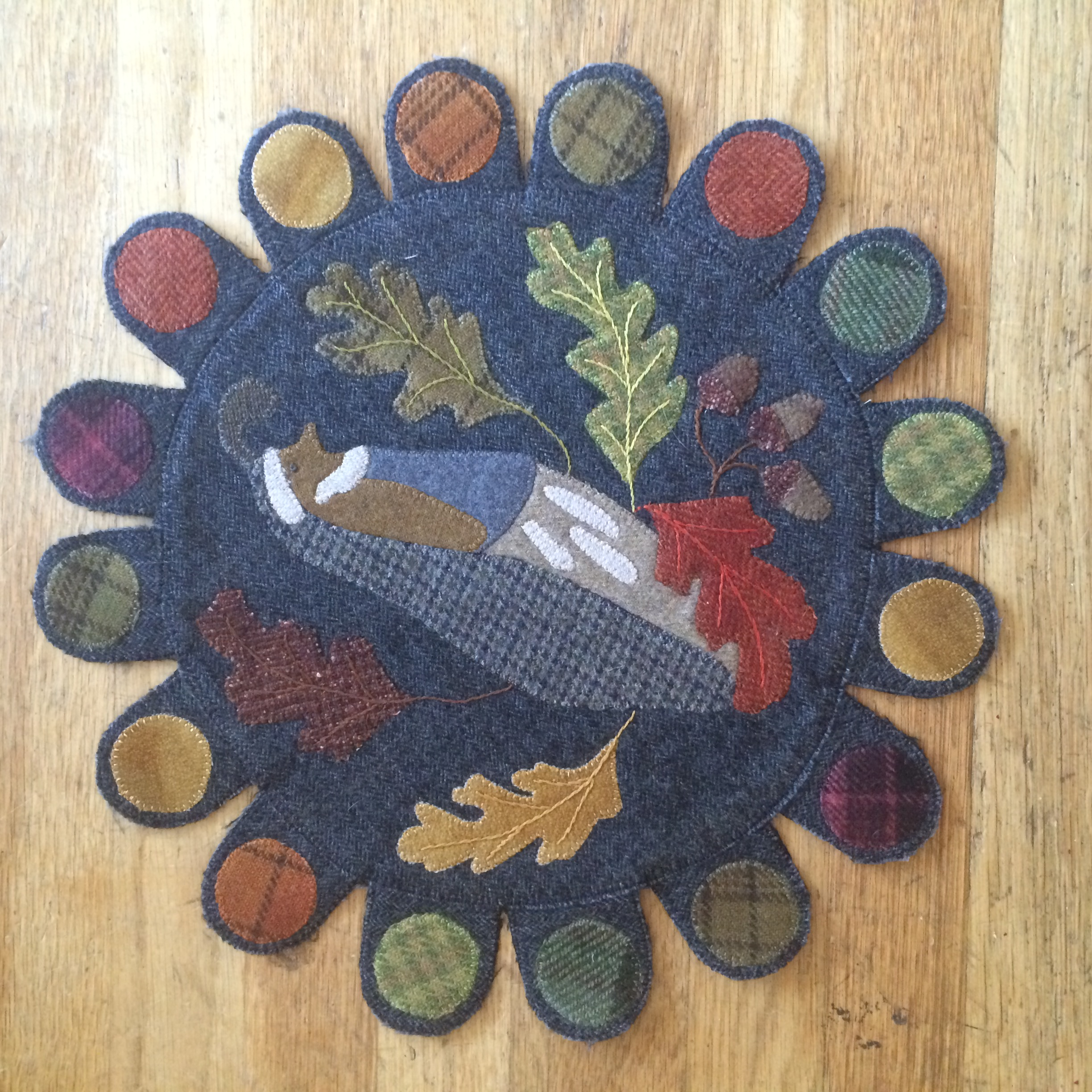 felted wool penny rug