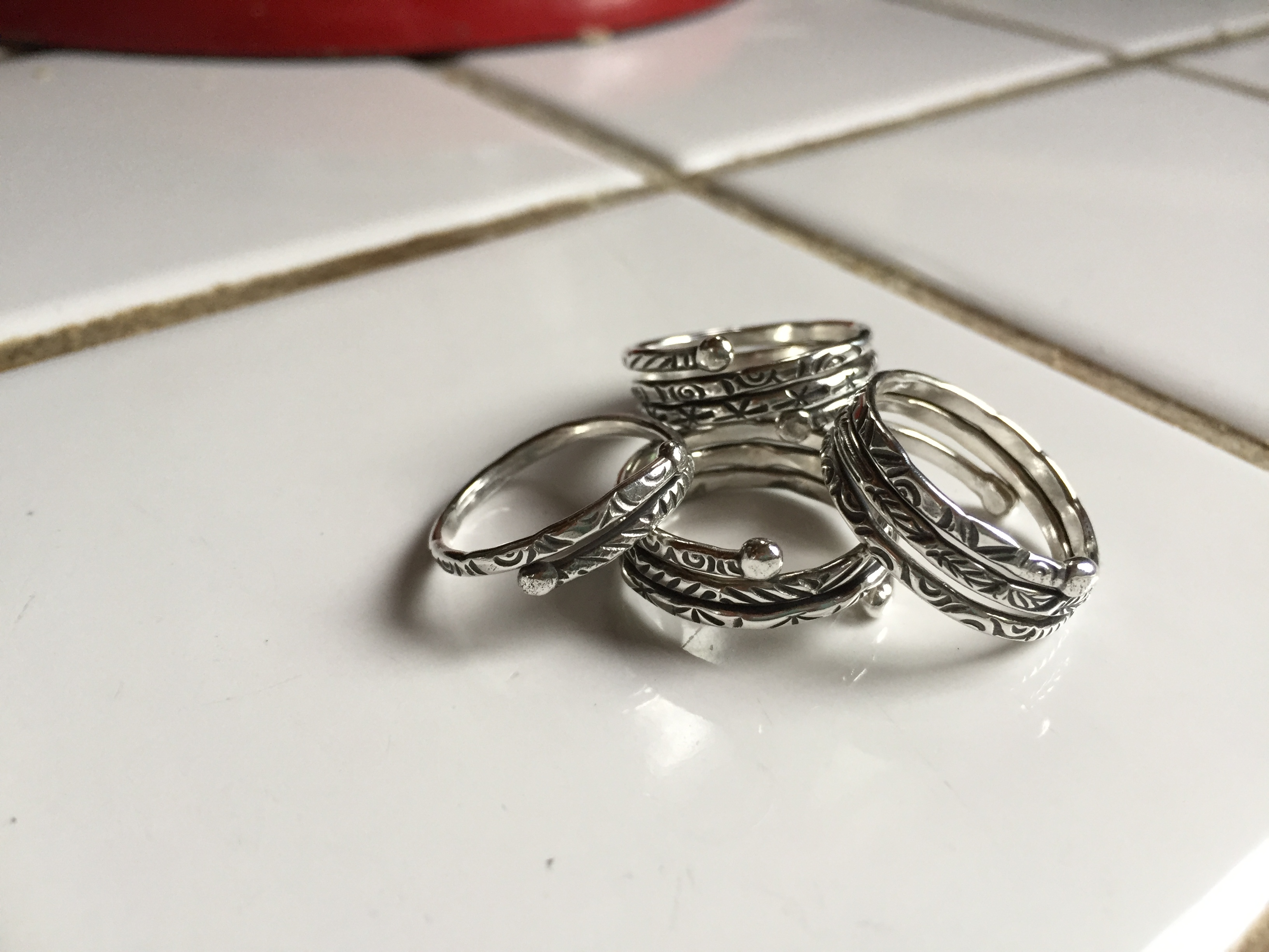 hand forged pure silver rings