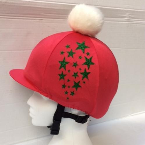 Glitter Star Hat Silk with Faux Fur Pom Pom
