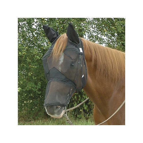 Fly mask with ears and zip off nose
