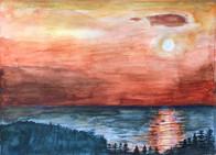 白石島の夕日