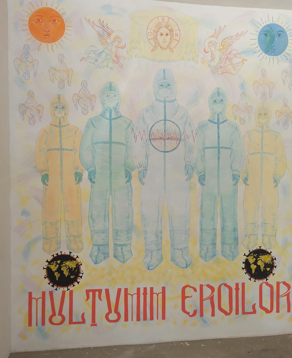 Mulțumim Eroilor. Pictură murală în BIserica Sf. M. Mc. Panteleimon din BĂlți