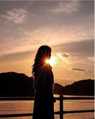 笠岡港の夕陽
