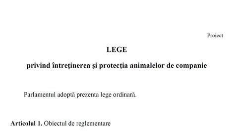 Proiectul de lege privind întreținerea și protecția animalelor de companie