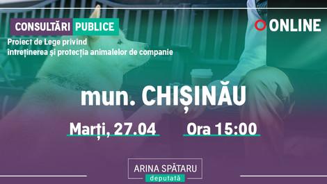 Mun. CHIȘINĂU: Consultări publice  a PL privind Întreținerea și Protecția animalelor de companie