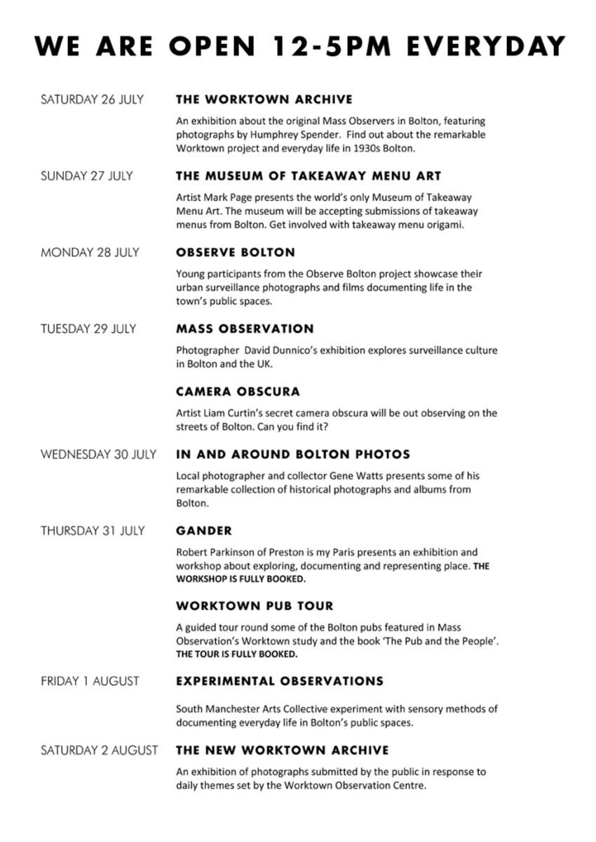 observation menu