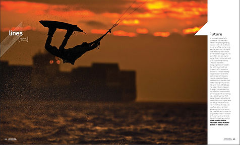 Kitesurfing at sunset in Cape Town, South Africa
