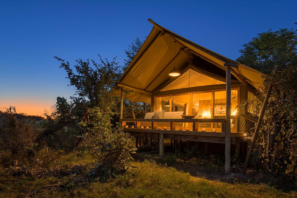 Luxury tent in the Okavango Delta, Botswana