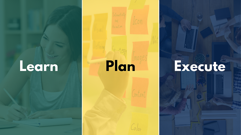 Banner of the small business week with the three keywords of the event written on them: learn, plan, execute. There is an images of a womam writing under the learn text, a person writing on post-it notes under the text plan, and a group of people working in their computers under the text execute.