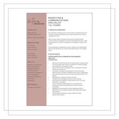 Resume Example I