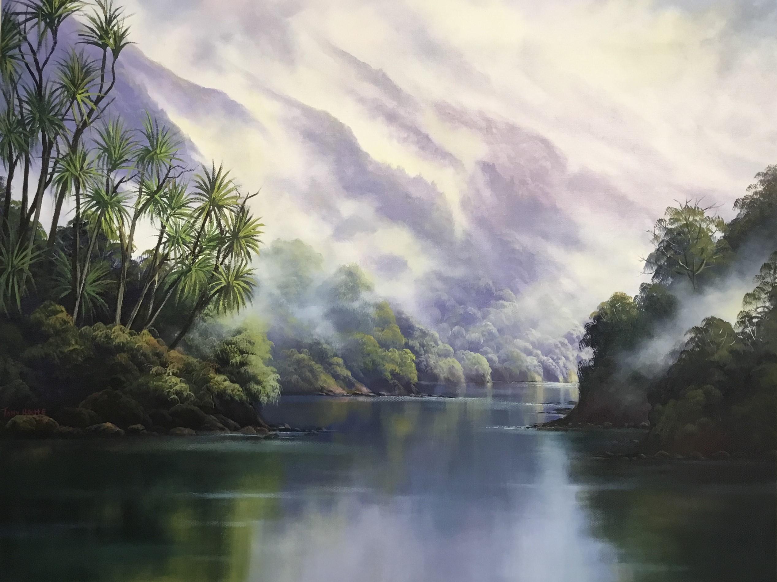 Moody Fiordland oil on Canvas