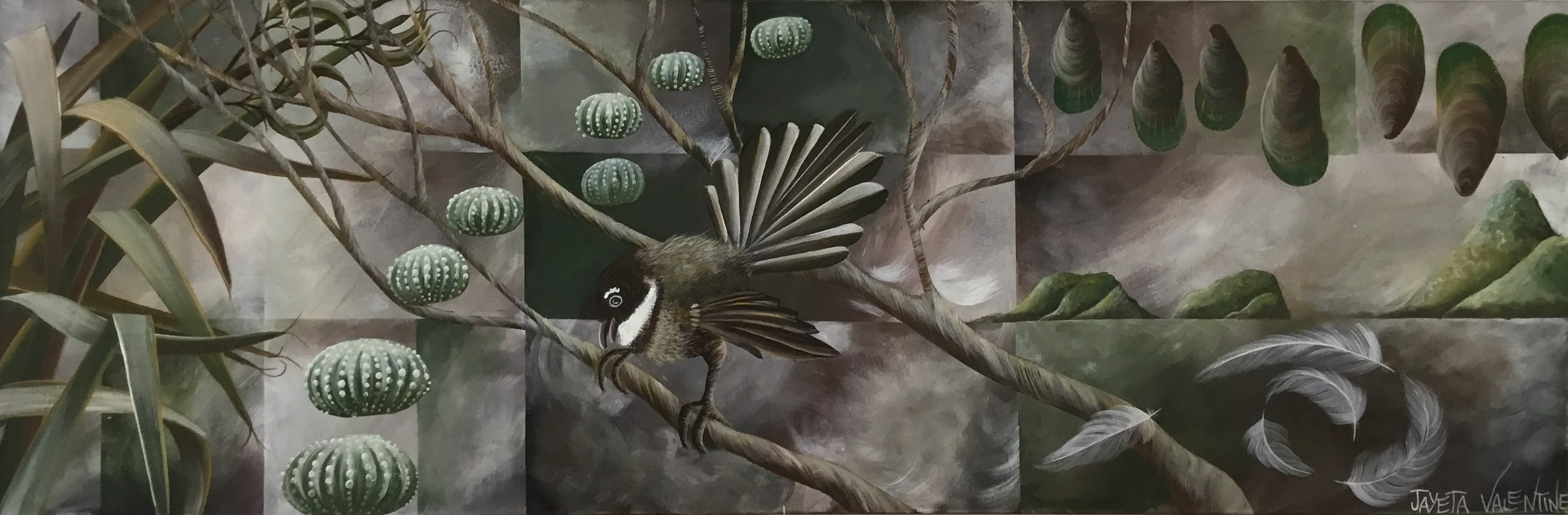Piwakawaka Examines Kina Oil On Canvas