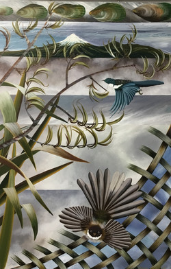 Piwakawaka Tui Levitation Acrylic On Canvas