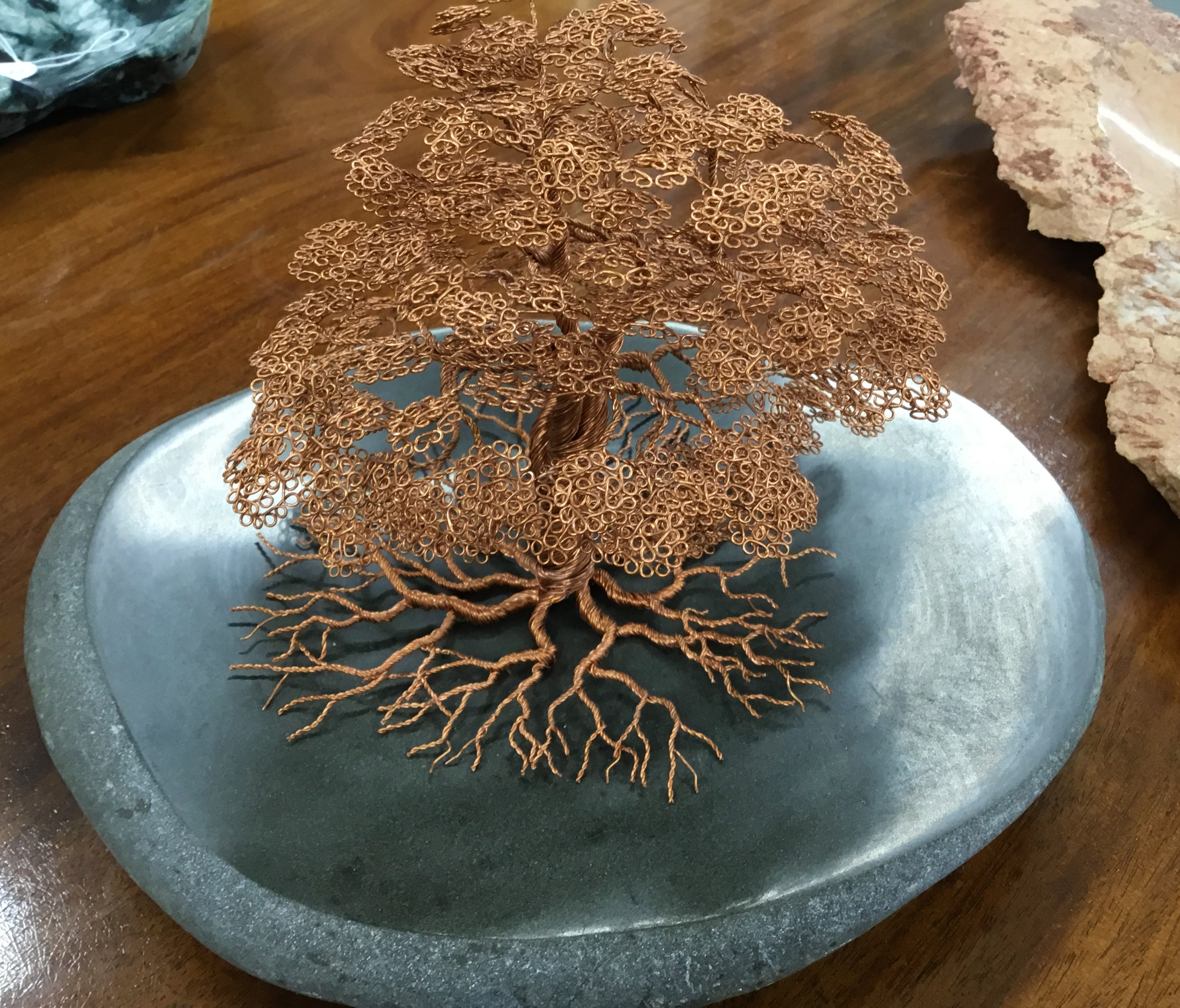 Medium Copper Tree On Stone Base