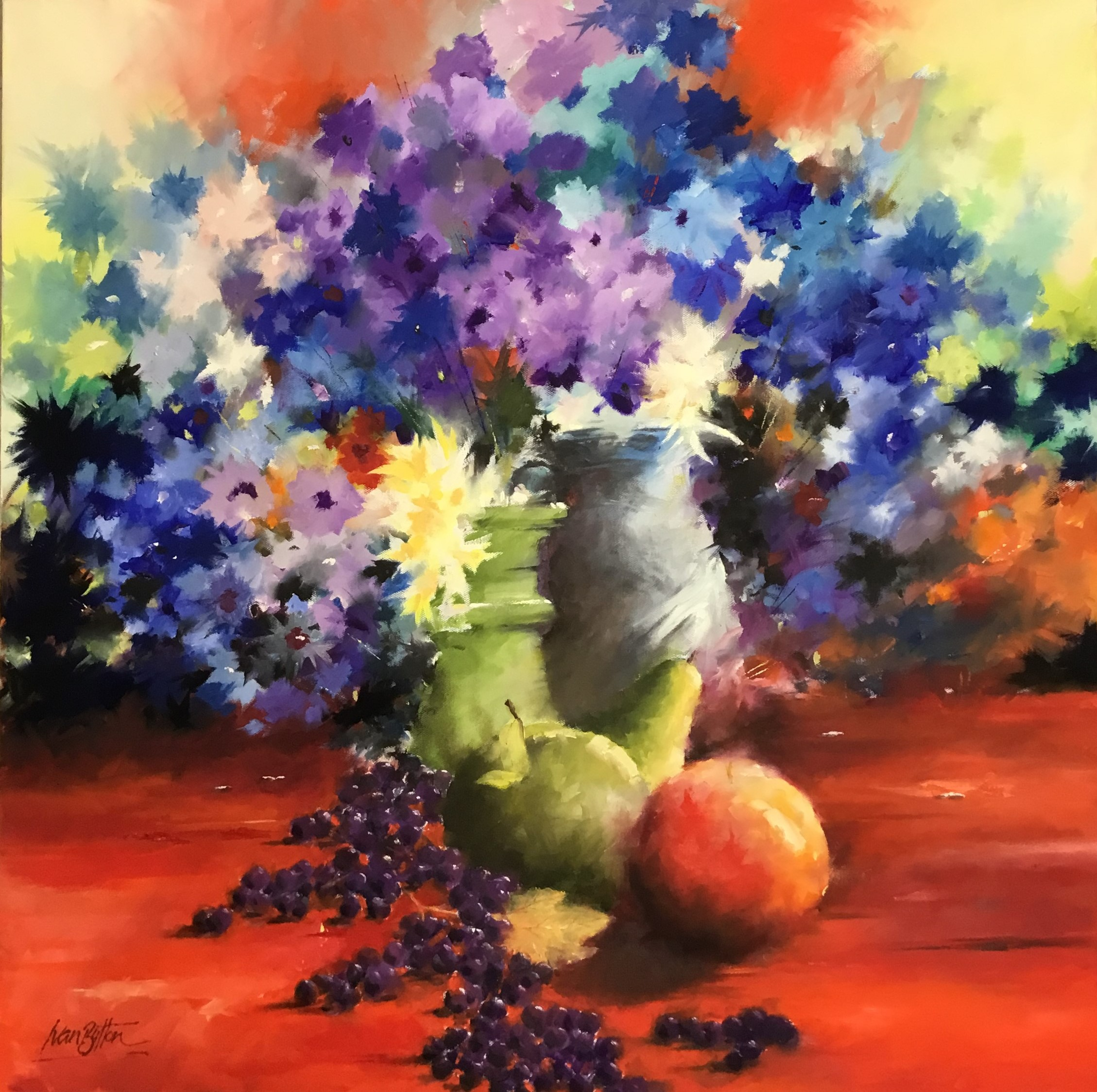 Ivan Button - Fruit And Flowers Oil On Canvas