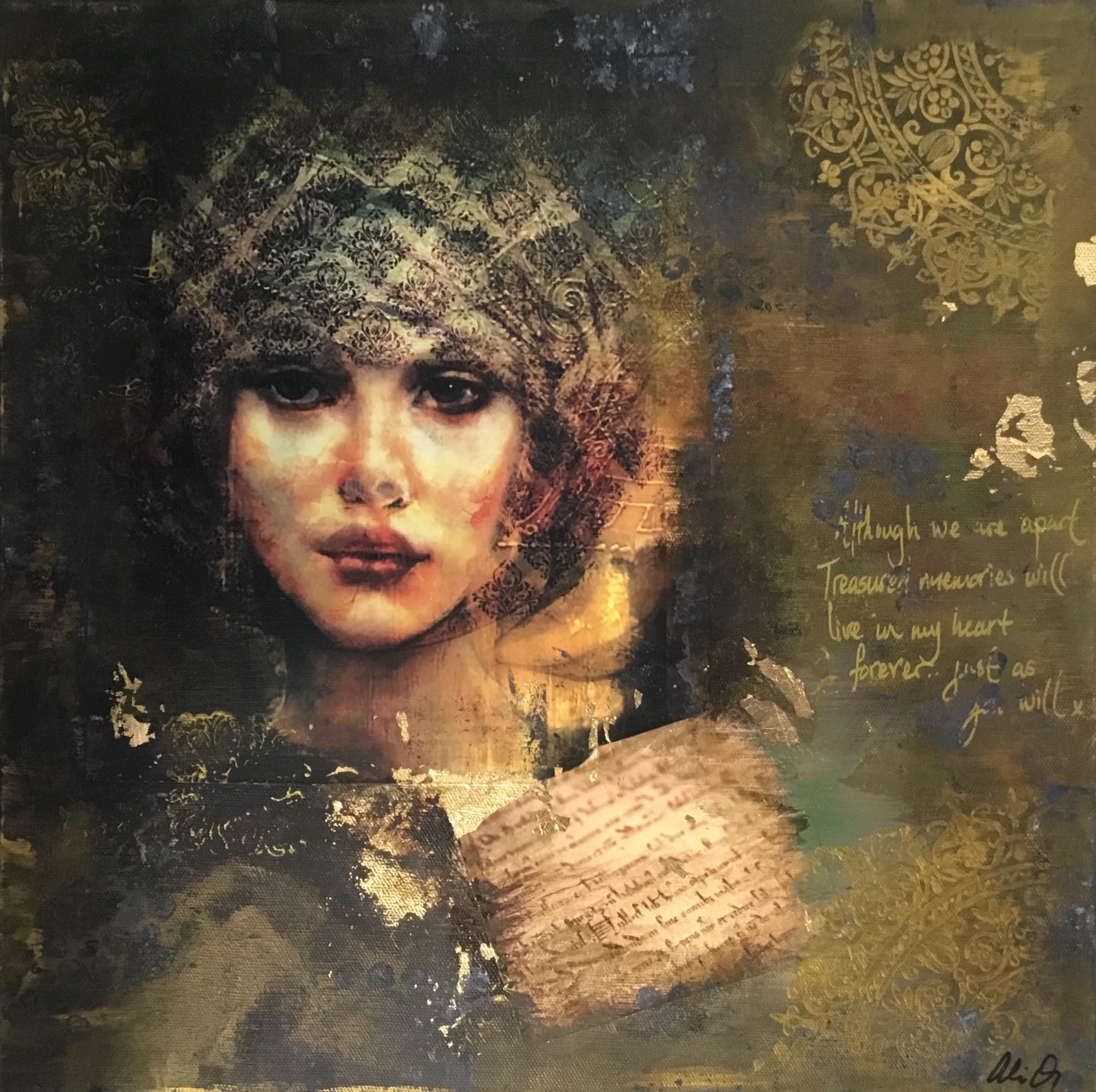 Ali Quinn - Gold Lady Mixed Media On Canvas