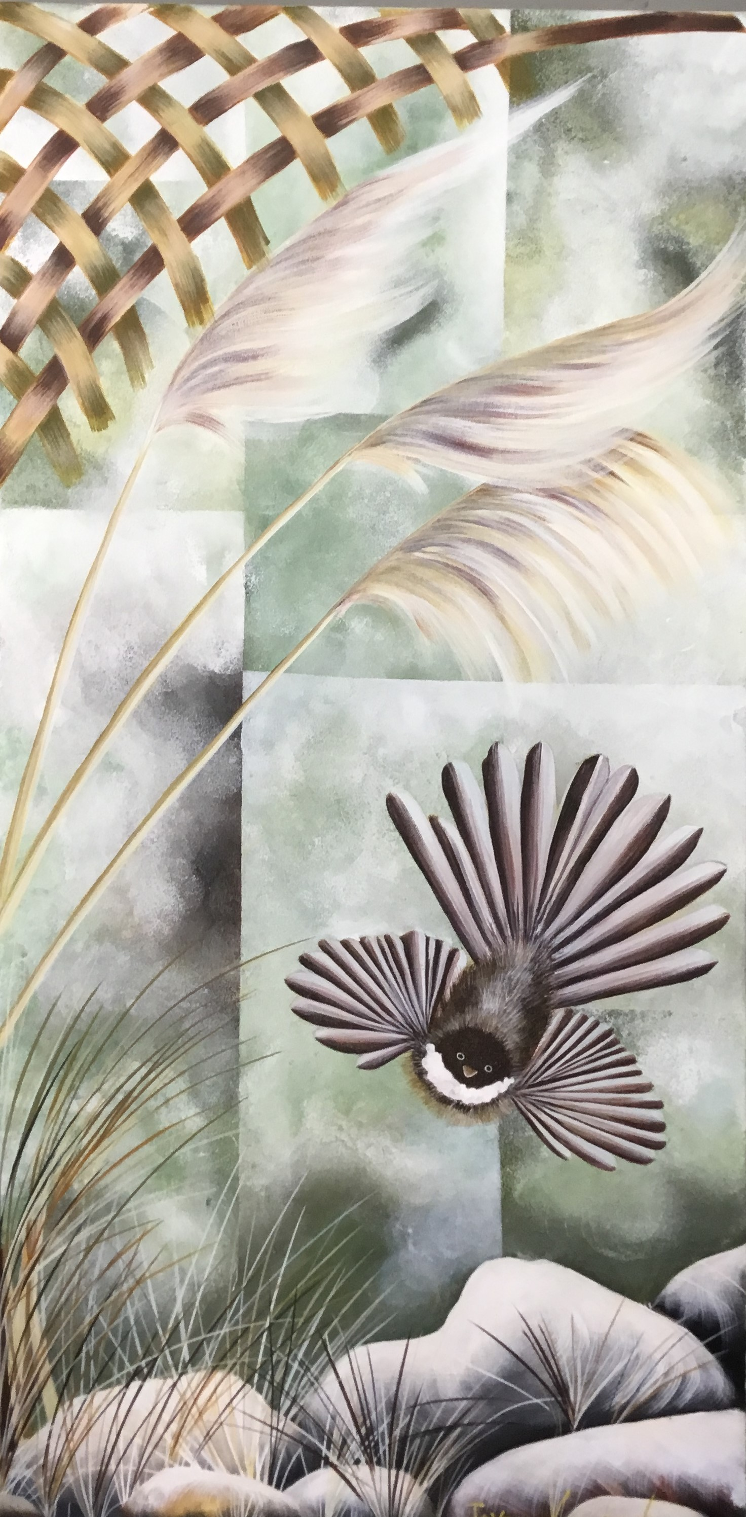 Piwakawaka Enigma Acrylic On Canvas