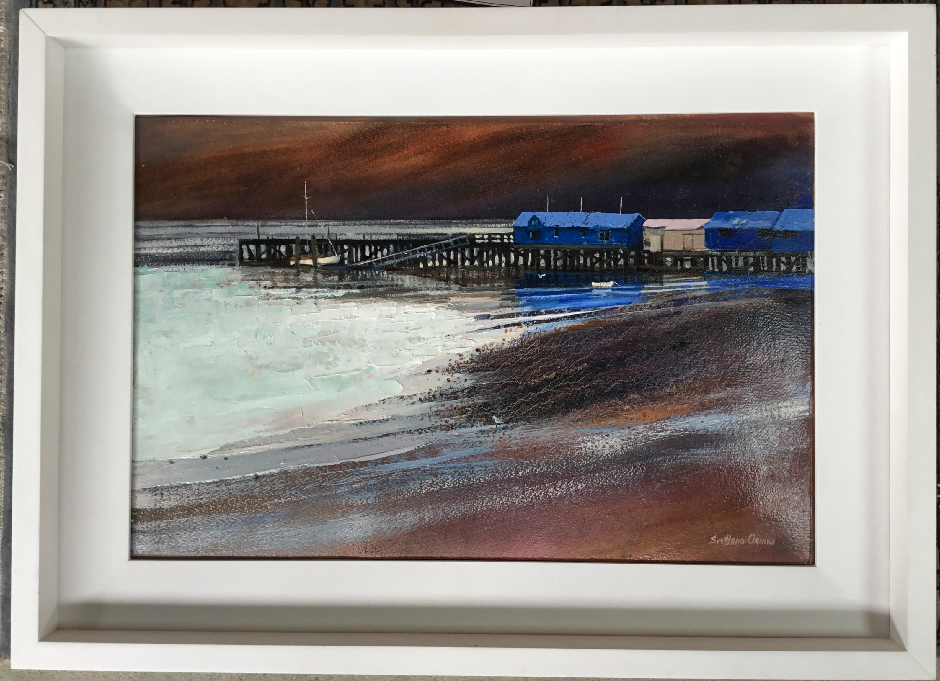 """""""Akaroa Wharf"""" Oil Original"""