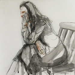Jo Loughnan - Girl On Chair Mixed Media