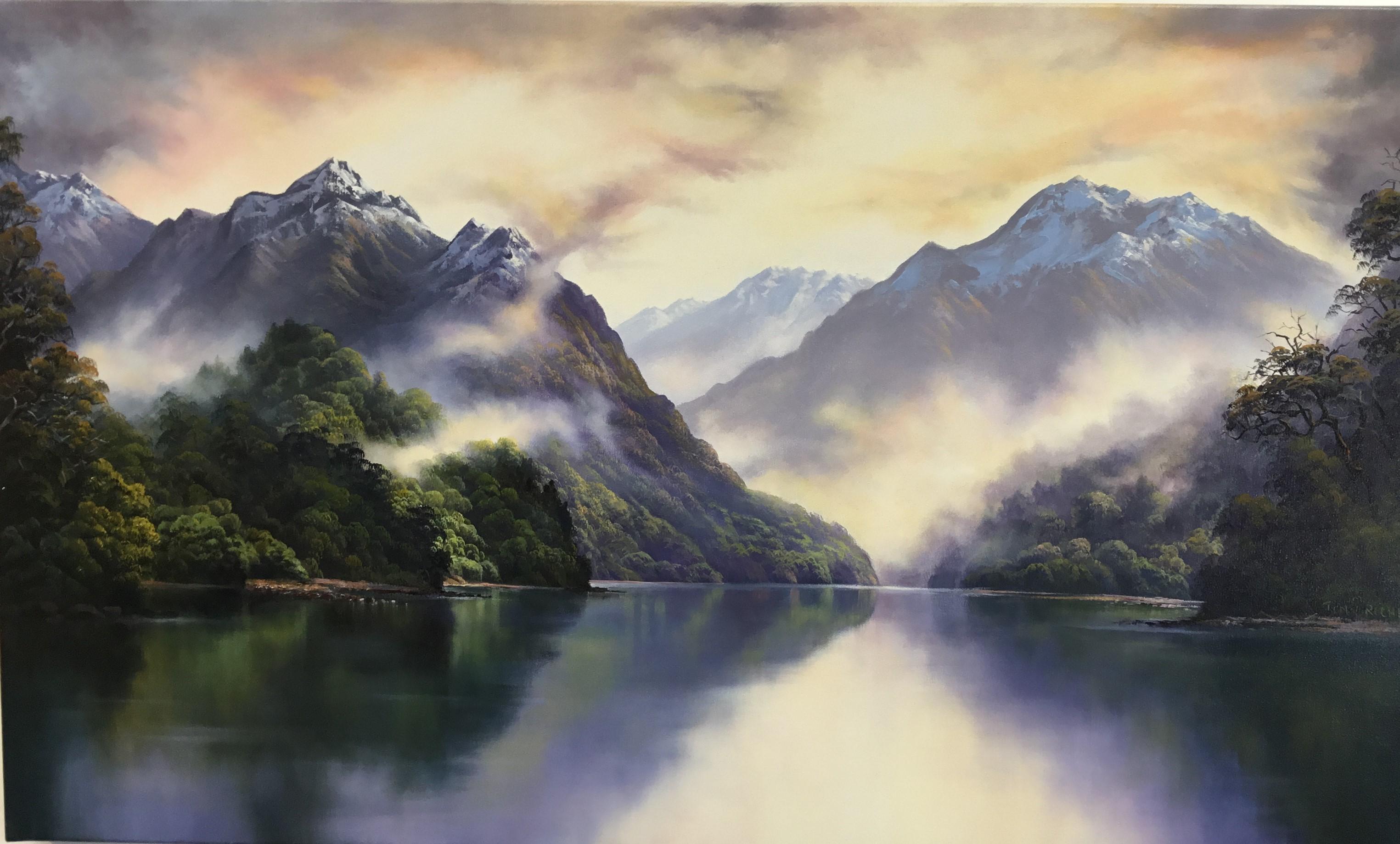 Tony Roche - Lake Manapori oil on Canvas