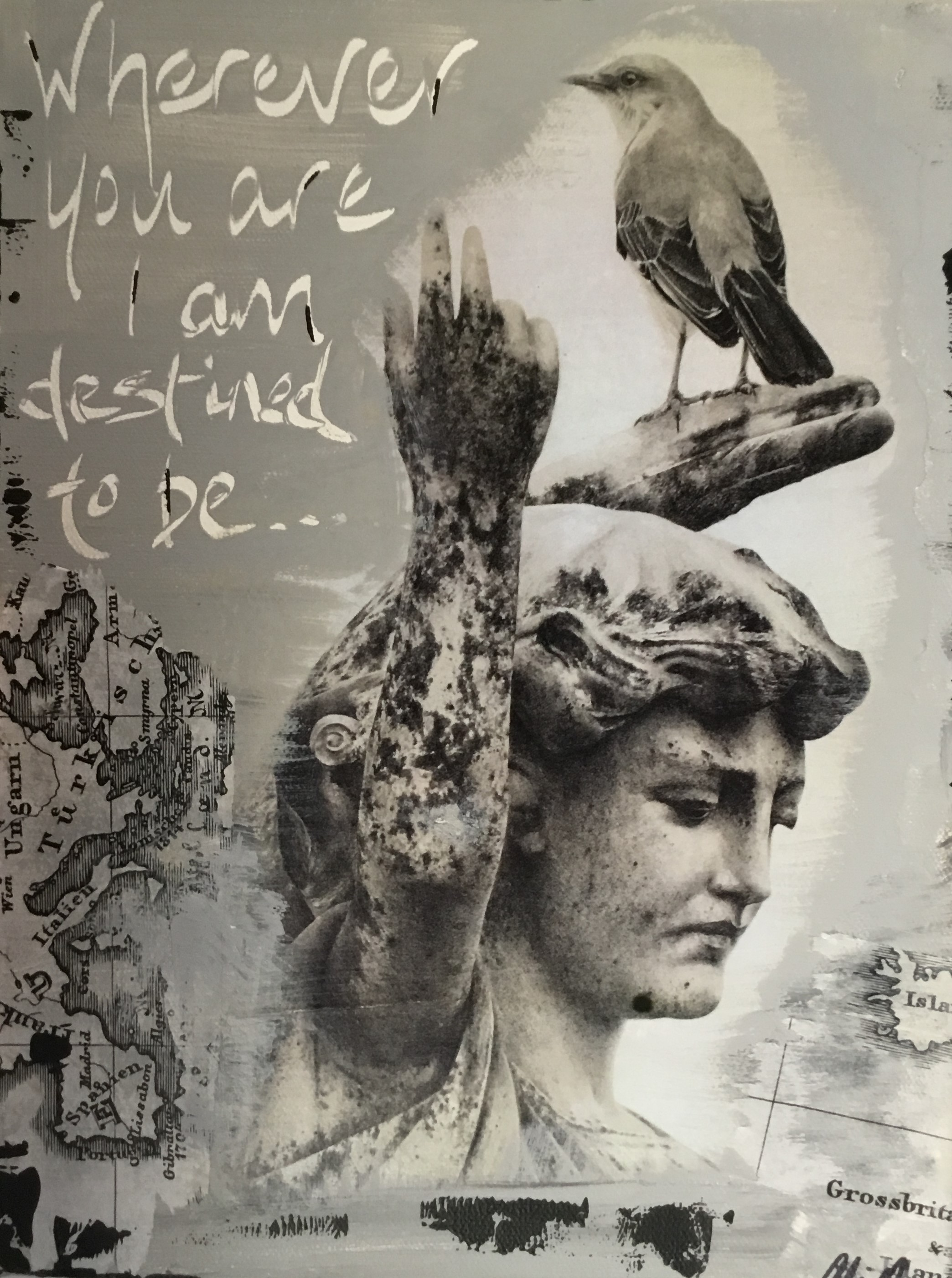 Ali Quinn - Statue With Bird Mixed Media On Canvas