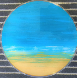 A Day At The Beach Art On Glass Cased in Perspex