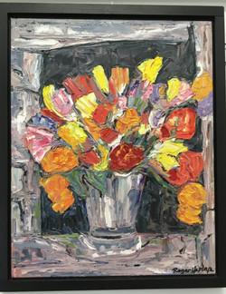 Floral Basket Oil On Canvas