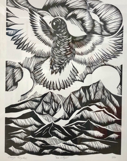 Kea Wood Cut Print
