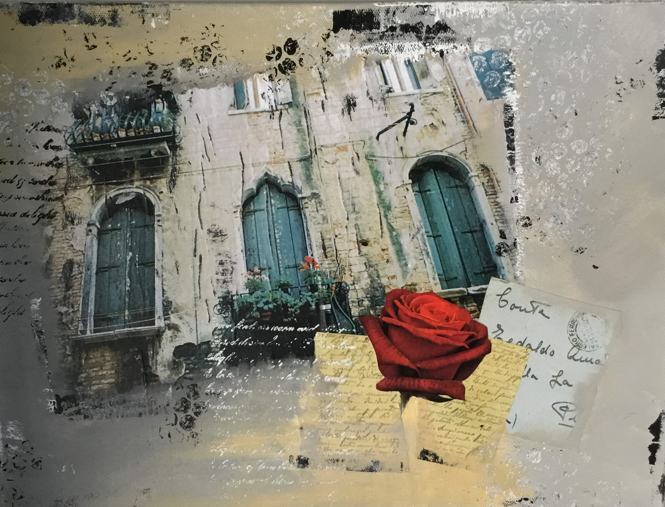 Ali Quinn - Blue Doors Mixed Media On Canvas