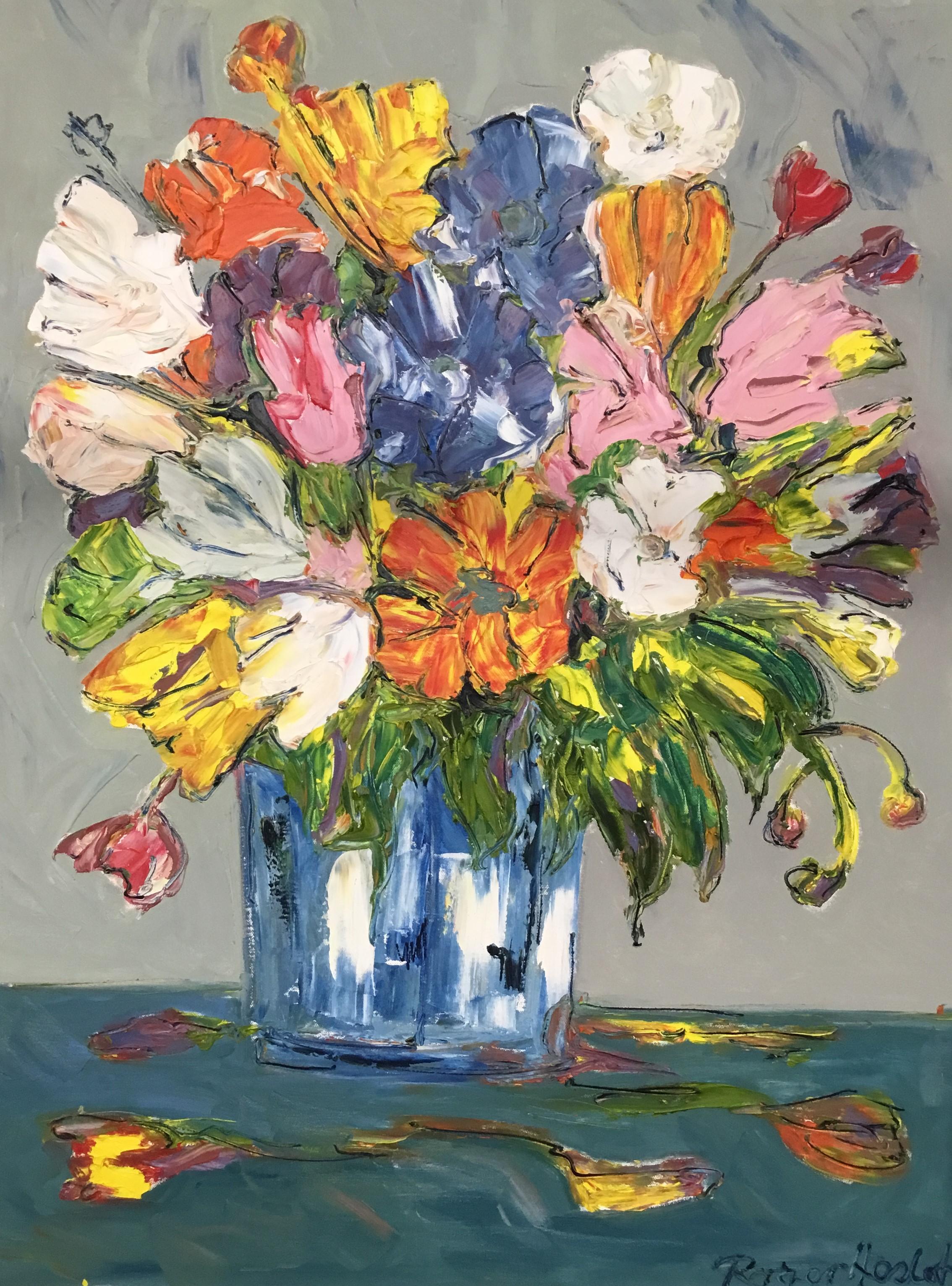 Flower Basket Oil On Canvas