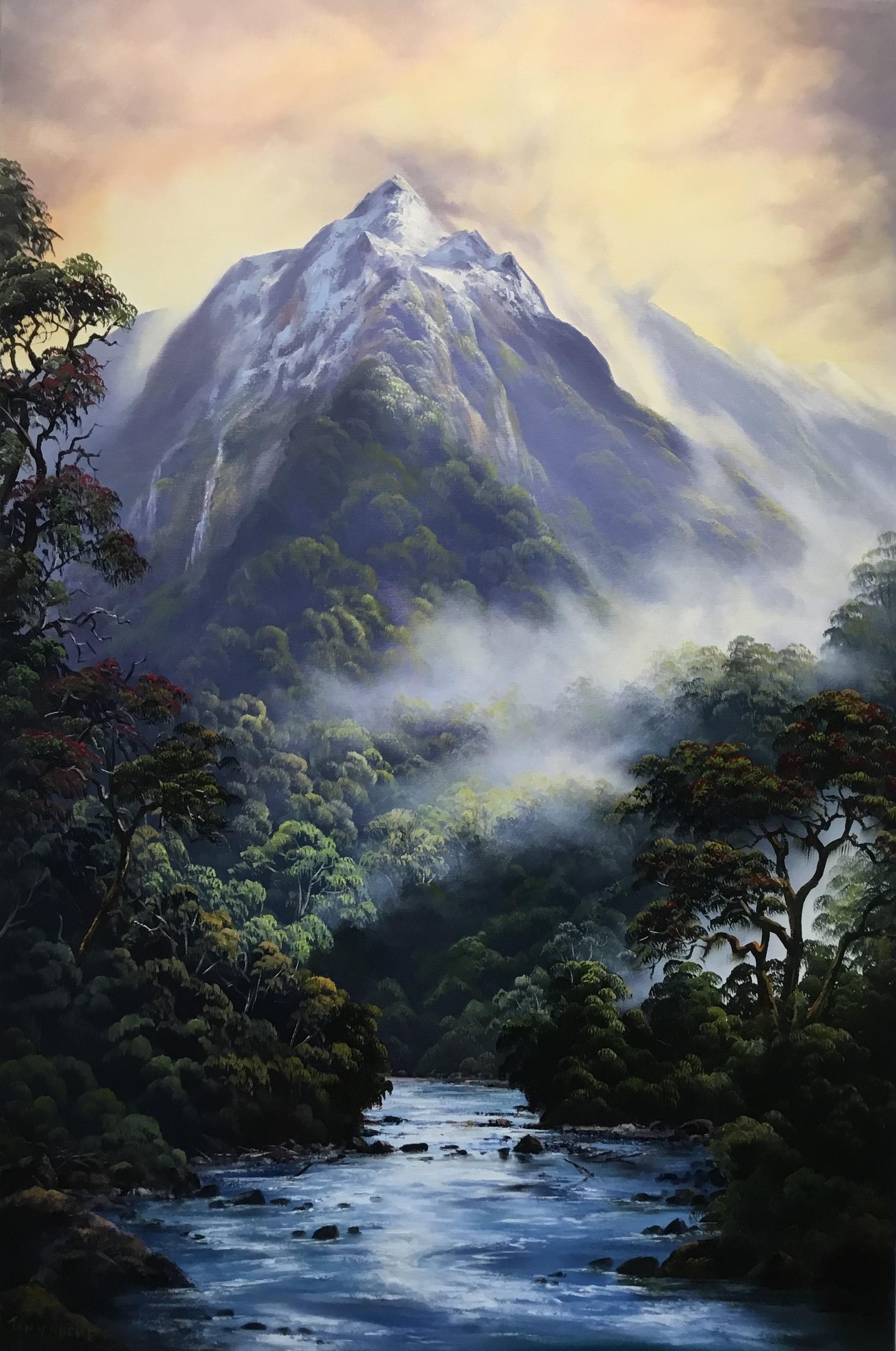 Tony Roche - Fiordland With Rata oil on