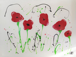 Ali Quinn - Large Poppies Mixed Media On Canvas