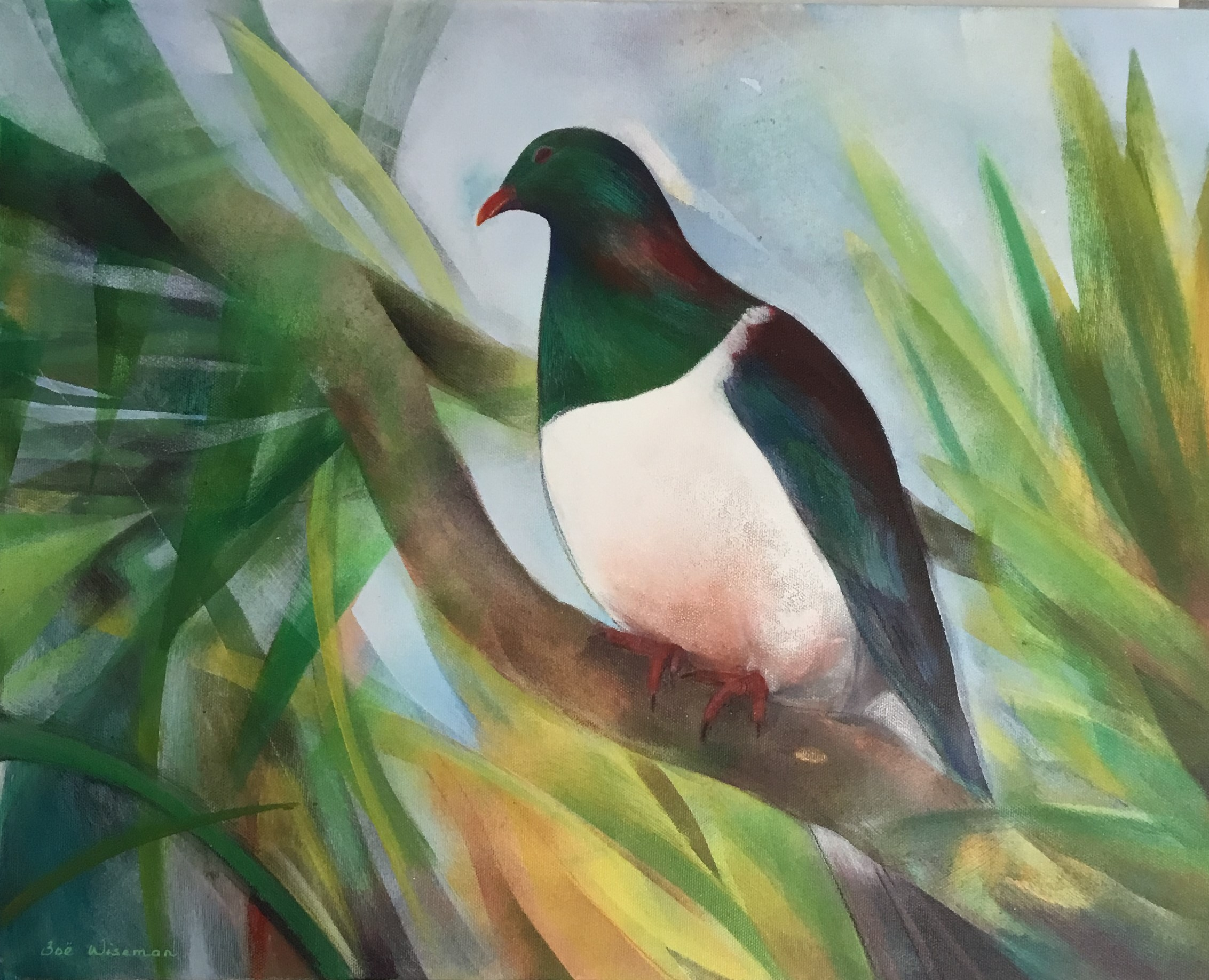 Kereru In Cabbage Tree Mixed Media On Canvas