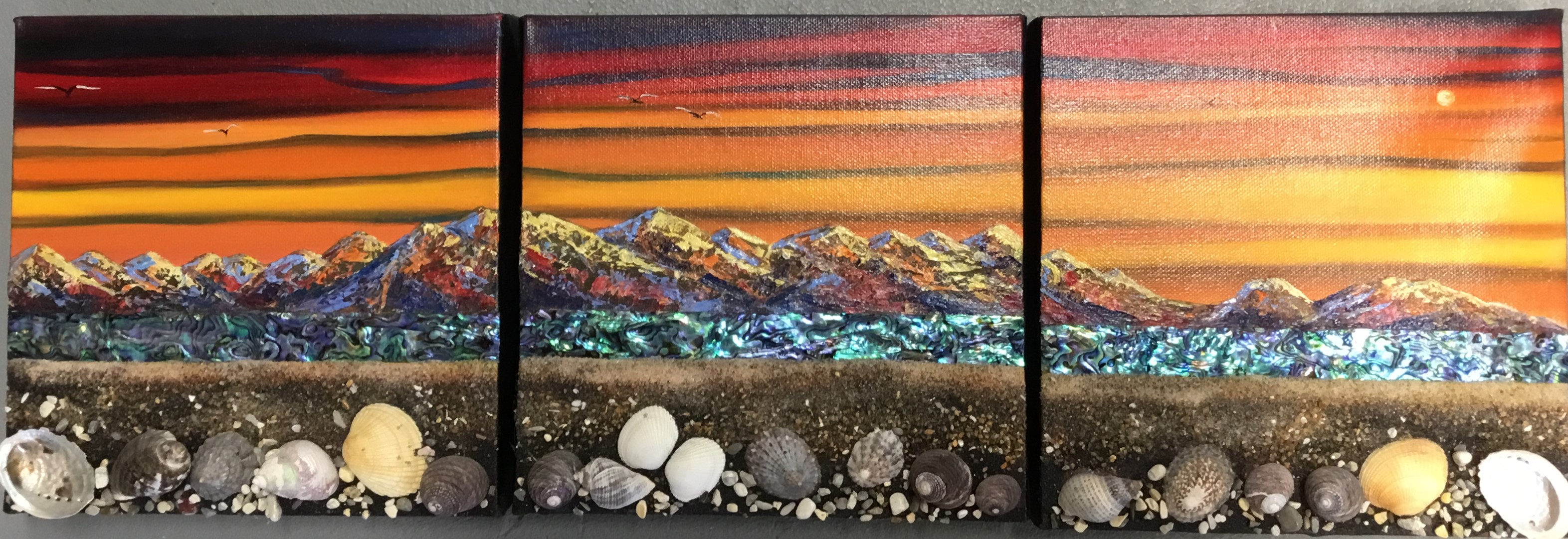 Mighty Kaikoura Sunrise Triptych 3 Small Canvases