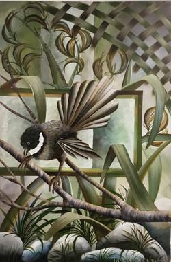 Piwakawaka Verdant Vista Acrylic On Canvas