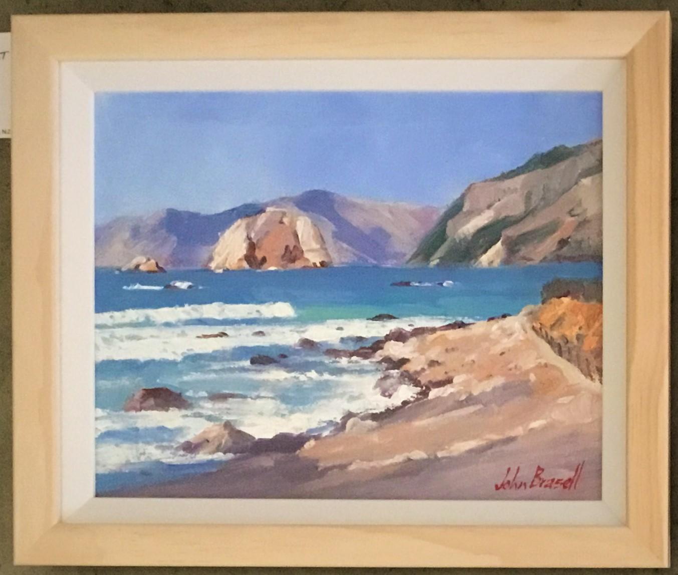 Riley's Rock Kaikoura Coast Oil Framed