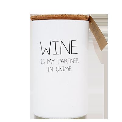 Geurkaars - Wine is my partner in crime - Geur Fresh cotton