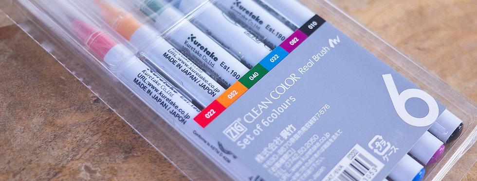Zig Watercolour Brush Pens  (Set of 6 Colours)