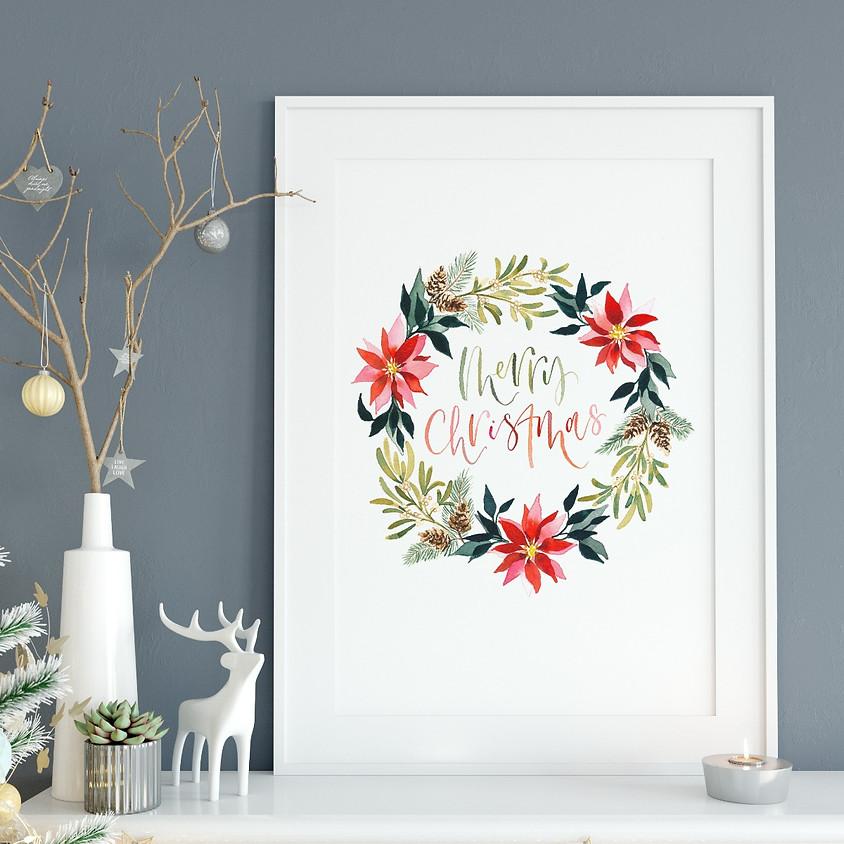24/11 Christmas Wreath Watercolour Online - 6.30pm - 9:30pm