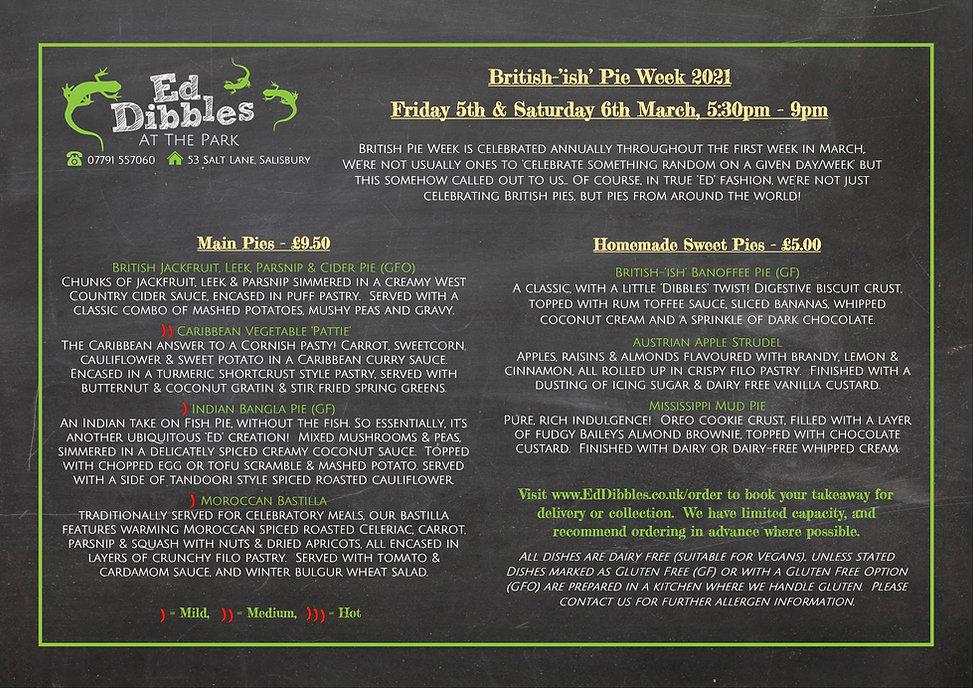 Ed Dibbles at the Park British Pie Week Menu