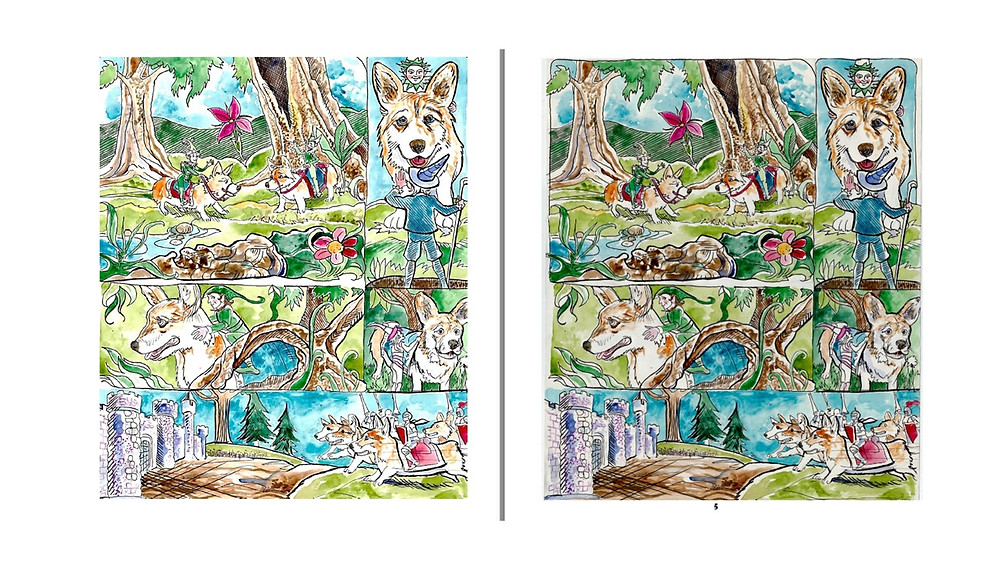 The same page after cleanup for publishing (left) and before cleanup (right)