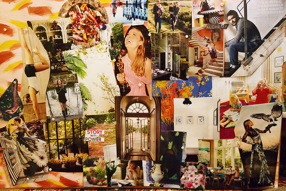 A vision board. At the center are an image of Brie Larson holding an Oscar statue, and an image of a set of french doors opening onto a corridor lined with green plants. Surrounding it are images of Jennifer Aniston holding a falcon, a woman doing a handstand, and lost of plants.